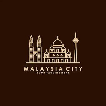 Maleisië stad lijn kunst logo