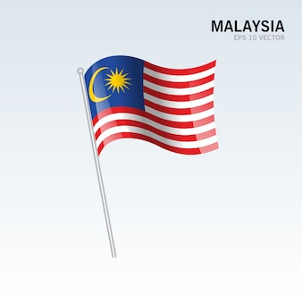 Maleisië zwaaien vlag geïsoleerd op een grijze achtergrond