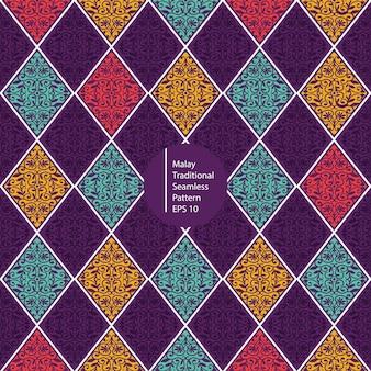 Maleisische kleurrijke vintage naadloze patroon achtergrond
