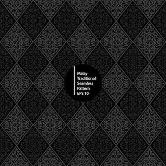 Maleisische monochrome naadloze patroonachtergrond
