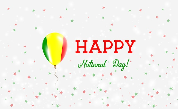 Mali nationale feestdag patriottische poster. vliegende rubberen ballon in de kleuren van de malinese vlag. mali national day achtergrond met ballon, confetti, sterren, bokeh en sparkles.