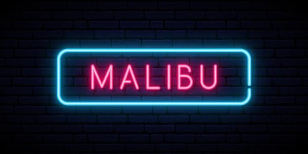 Malibu neonreclame helder licht uithangbord