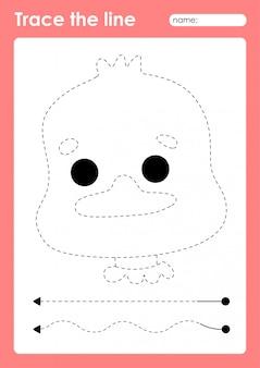 Mallard duck - tracing lines preschool werkblad voor kinderen voor het oefenen van fijne motoriek