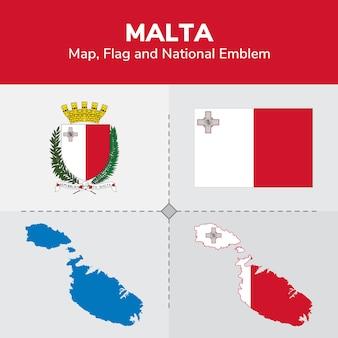 Malta kaart, vlag en nationale embleem