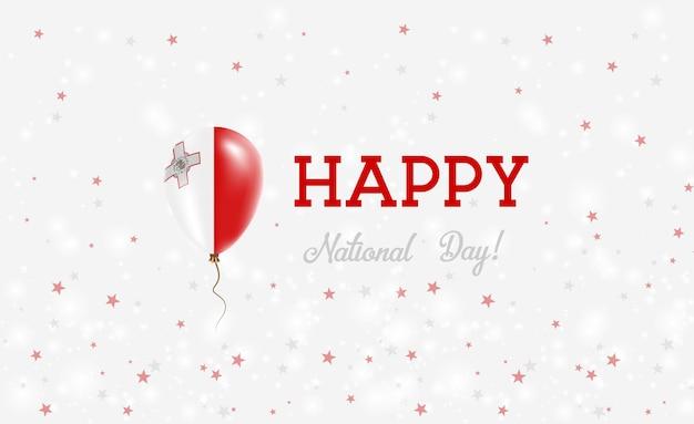 Malta nationale feestdag patriottische poster. vliegende rubberen ballon in de kleuren van de maltese vlag. malta nationale feestdag achtergrond met ballon, confetti, sterren, bokeh en sparkles.