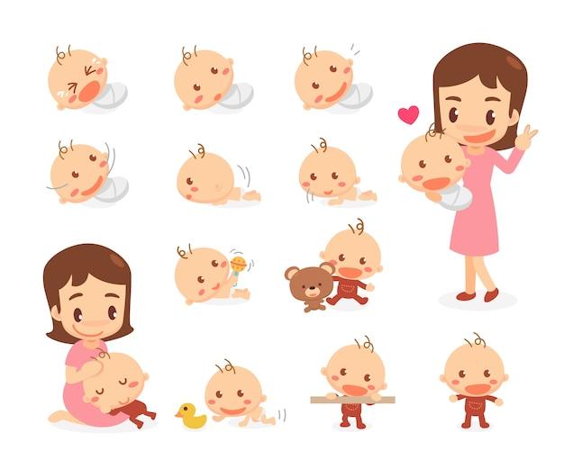 Mam en baby. baby ontwikkelingsstadia. mijlpalen.