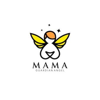 Mama beschermengel logo concept mama liefde baby kinderen voogd moeder