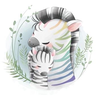 Mama en baby zebra knuffelen elkaar