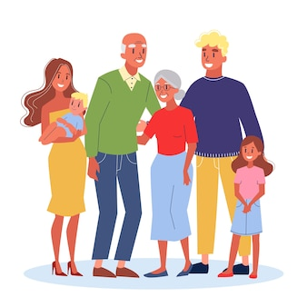 Mama en papa, kinderen en hun grootouders