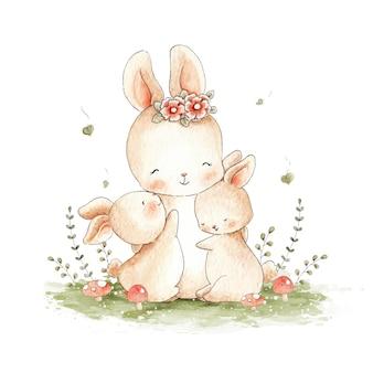 Mama konijn en haar konijntjes aquarel illustratie