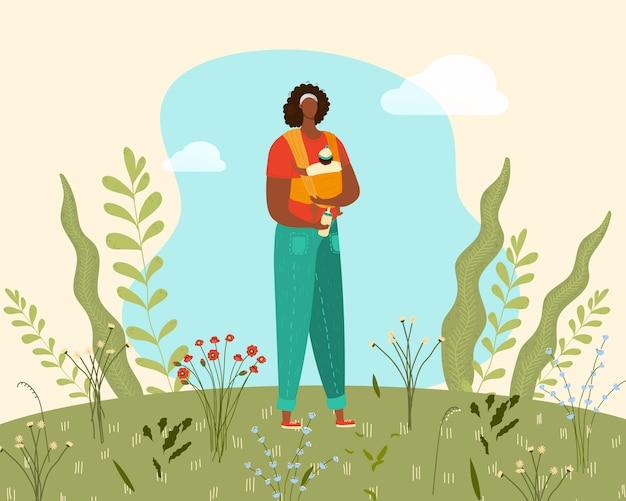 Mamma en pasgeboren baby in slinger, gelukkige familie, jonge vrouw met zuigeling in de weide van de de lenteaard met bloemen en installaties vlakke illustratie.
