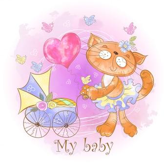 Mamma kat met een baby in een kinderwagen. mijn baby. babyshower.