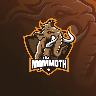 Mammoet olifant mascotte logo ontwerp vector met moderne illustratie
