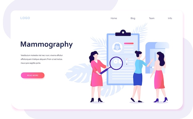 Mammografie concept. borstonderzoek in de kliniek, medische diagnose. illustratie in stijl