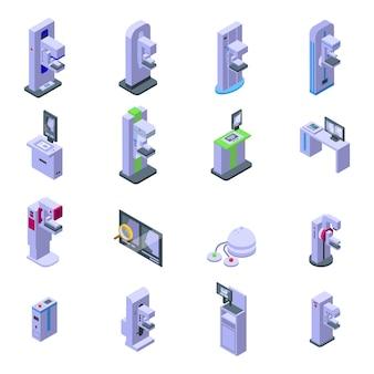 Mammografie machine pictogrammen instellen. isometrische set van mammografie machine vector iconen voor webdesign geïsoleerd op een witte achtergrond