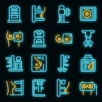 Mammografie machine pictogrammen instellen vector neon