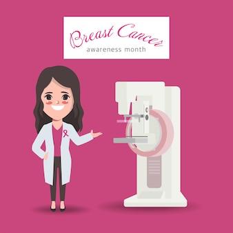 Mammografie scan met arts bewustmakingsmaand voor borstkanker