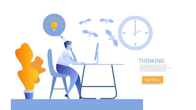 Man aan het werk en denken