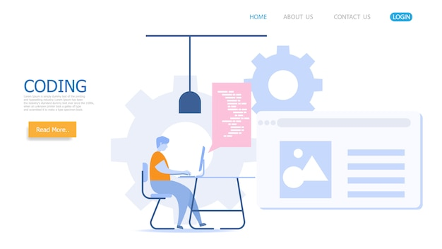 Man aan het werk met codering vector bestemmingspagina