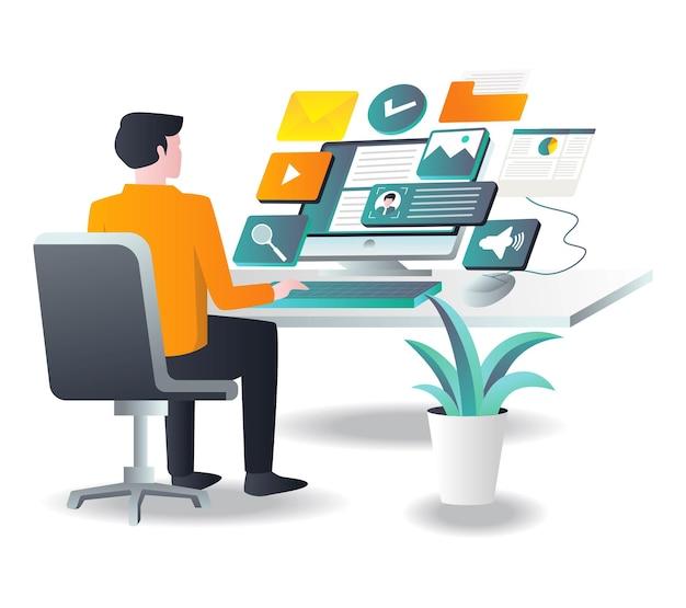Man aan het werk met computer met app in isometrische afbeelding