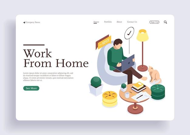 Man aan het werk met notebook en laptop freelancer doet extern werk met huisdier