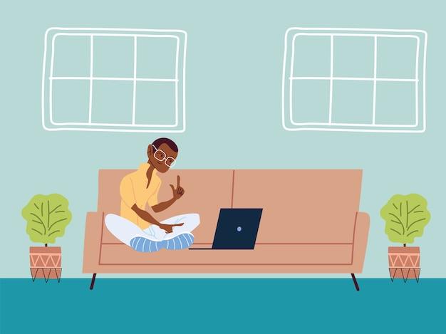 Man aan het werk op afstand vanuit haar huis illustratie