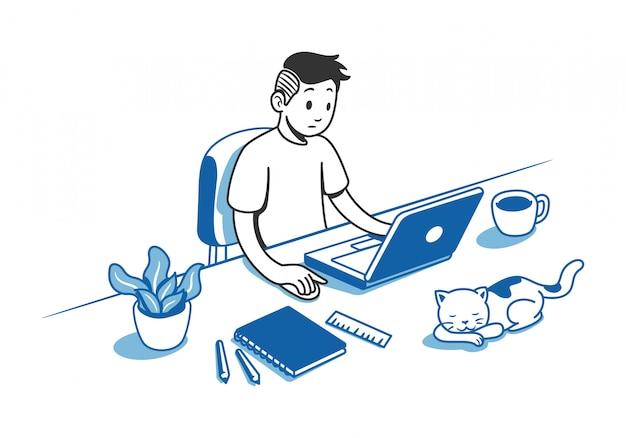 Man aan het werk op bureau