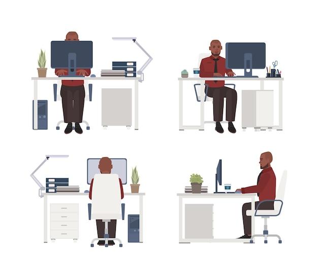 Man aan het werk op de computer op de werkplek. mannelijke beambte zittend in een stoel aan het bureau. platte stripfiguur geïsoleerd
