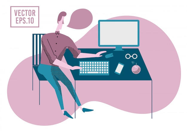 Man aan het werk op de computer. vector illustratie. kantoorwerkthema.