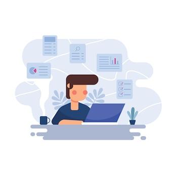 Man aan het werk op de laptop