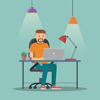Man aan het werk op kantoor of thuis