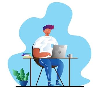 Man aan het werk op laptop concept