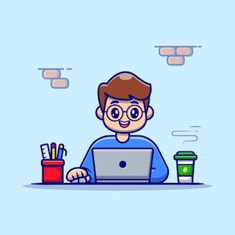 Man aan het werk op laptop met koffie en stationaire cartoon vectorillustratie.