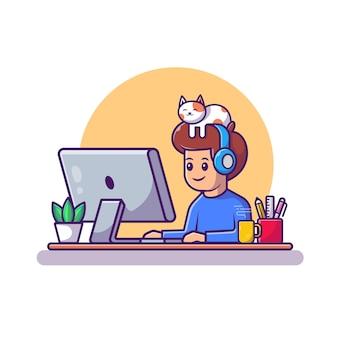 Man aan het werk op laptop pictogram illustratie. werken vanuit huis mascotte stripfiguur. mensen pictogram concept geïsoleerd