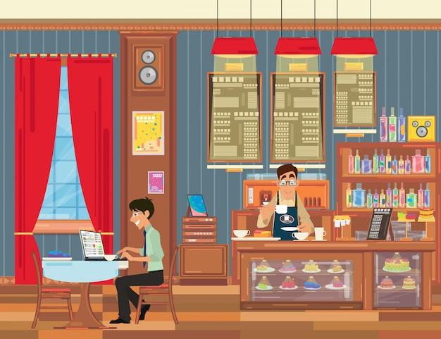 Man aan het werk op mijn laptop in een klein café met een prachtig interieur.