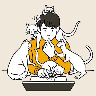 Man aan het werk surround met katten