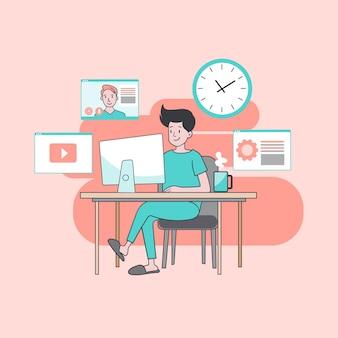 Man aan het werk thuis met uw laptop om virusinfectie te voorkomen