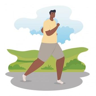 Man afro marathonloper sportief lopen, man afro run competitie of marathon race poster, gezonde levensstijl en sport
