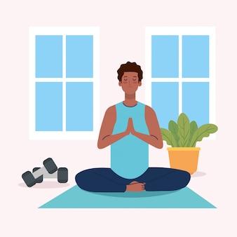 Man afro mediteren, yoga meditatie ontspannen
