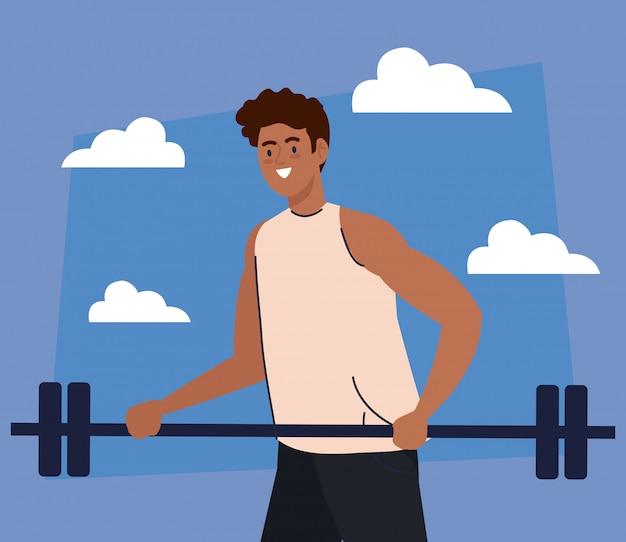 Man afro met gewicht bar buiten, sport recreatie uitoefenen