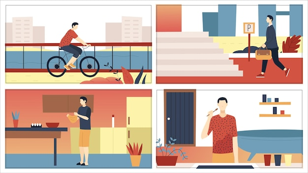 Man alledaagse vrijetijdsroutine en werkactiviteiten concept