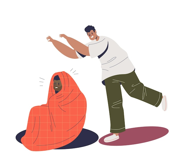 Man angstaanjagende bang jongen verbergen en bedekt met deken in slechte grap