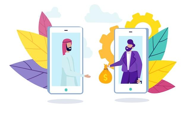 Man arabier en bankmedewerker op smartphonescherm.