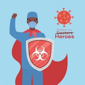 Man arts held met cape en schild tegen 2019 ncov virus vector design