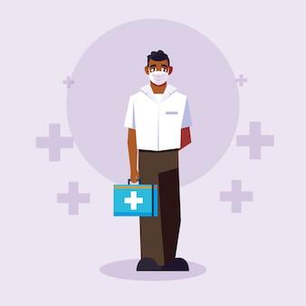 Man arts met uniform en masker voor kruisen vector ontwerp