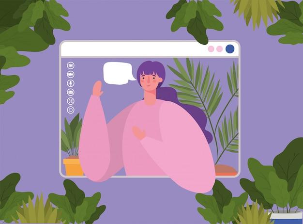 Man avatar met bubbel op website in videochat ontwerp, bel online conferentie en webcam thema illustratie