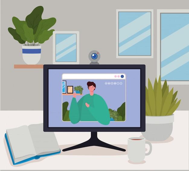 Man avatar op computer in videochat
