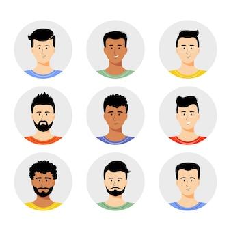 Man avatar set vectorillustratie jonge jongens portret met verschillende kapsel geïsoleerd op wit