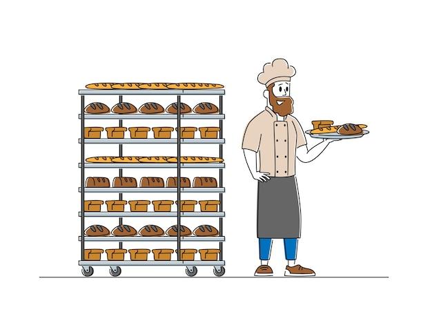 Man baker karakter in steriele uniform en hoed met lade