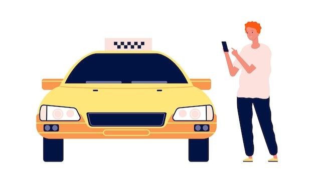 Man belt taxi. man met auto online app.